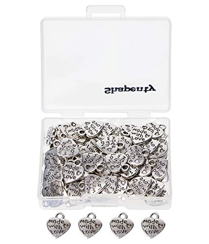 Shapenty 100PCS Mini Metal Beads Heart Shaped Made with Love Charms Bulk for DIY Craft Keychain Necklace Pendants Bracelets Earrings Jewelry Making Findings (Silver)