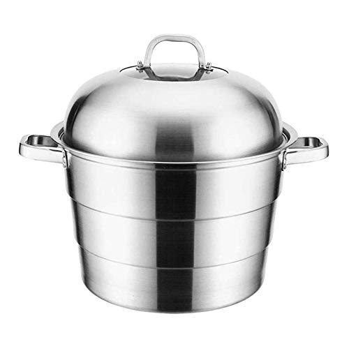 SFLRW 3-Tier Stainless Steel Steamer Pot Steaming Cookware Saucepot with Lid, Work with Gas, Electric