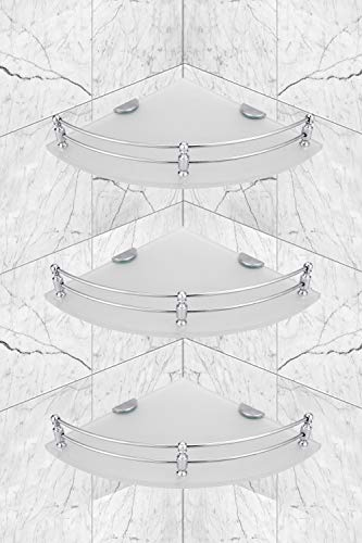 Ara India Premium Glass Corner Shelf, Bathroom Shelf and Shelves, Bathroom Accessories, Color – Frosted, Size – 9 x 9 Inches, Pack of 3 Pcs.