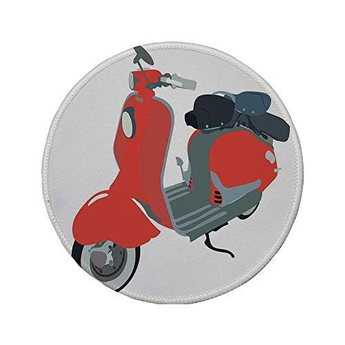 Rutschfreies Gummi-Rundmaus-Pad Dekorationen aus den 1960er Jahren Motorroller-Kritzeleien im Stil der 60er Jahre Motorrad fahren Urban Cartoon Clipart Dekorativ 7.9