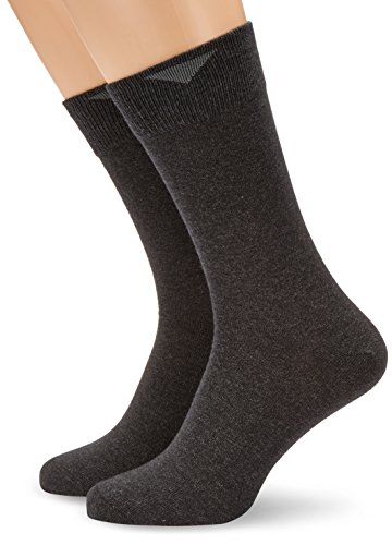 Nur Der Herren Socken 407539/He Cotton Stretch DP, 2er Pack, Gr. 43/46, grau (anthrazitmel.)