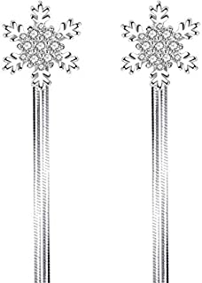 J&J Fashionable snowflake earrings, women's back hanging wild temperament, exaggerated mid-long silver earrings