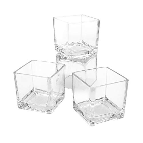 Flower Glass Vase Decorative Centerpiece for Home or Wedding by Royal Imports - Clear Cube Shape (36, 2.5x2.5x2.5)