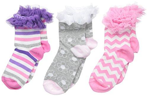 Jefferies Socks für Mädchen, Rüschen, Streifen, Blumen, Zickzackmuster, 3 Paar - mehrfarbig - XS