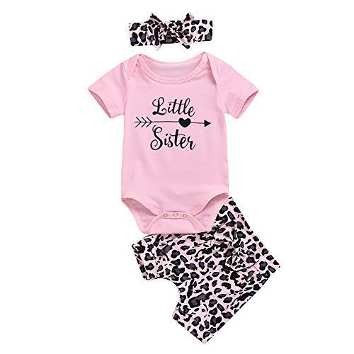 Conjunto de ropa de verano para bebé niña de manga corta con estampado de letras, camiseta+pantalones cortos de leopardo+diadema, 3 piezas