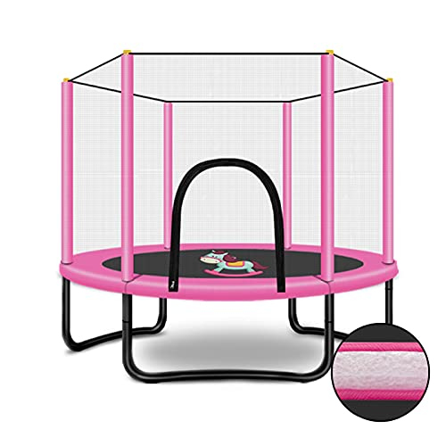 LKZL Recreational Trampolines, 5Ft Toddler Jumping Training Trampoline with Safety Net Enclosure, for Indoor Outdoor Activities (Color : Pink)
