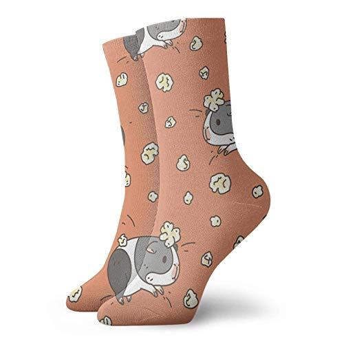 Patrón de conejito de indias, calcetines de palomitas de maíz, de comodidad clásica, calcetines casuales atléticos de 30 cm, para hombres y mujeres unisex