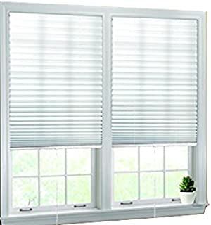 """Luxr Blinds Pleated Fabric Shades with Pull Cord Operation: Easy Installation Light Filtering Blinds- White, 36""""x72"""""""