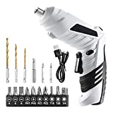 VILLCASE 10Pcs Cordless Drill Driver Kit Electric Screwdriver Hand Drill Rechargeable Twist Drill Screw Bits for Home Office DIY Shop (Black White)