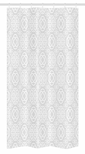 Ambesonne Celtic Stall Shower Curtain, Retro Tribal Celtic Knots Eternity Forms Pattern Boho Ireland Irish Floral Artwork, Fabric Bathroom Decor Set with Hooks, 36' X 72', Grey White