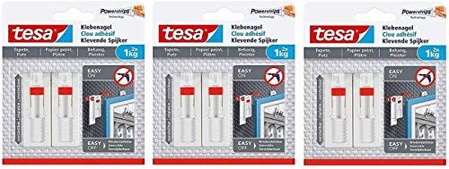 tesa Verstellbarer Klebenagel für Tapeten und Putz/Selbstklebender Nagel von tesa Powerstrips (6 Nägel (1 kg))