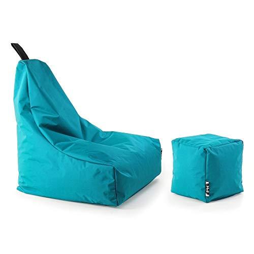 Patchhome Lounge Sessel + Würfel XL Gamer Sitzsack Sitzkissen Sitzsäcke Erwachsene Riesensitzsack Kinder fertig mit Styropor Füllung befüllt In & Outdoor geeignet in 2 Größen und 25 Farben Türkis