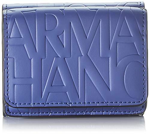 Armani Exchange Damen Mini Wallet Geldbörse, Blau (Denim - Denim), 4x9.5x8 cm
