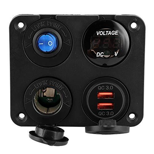 USB Car Charge, 12V-24V Switch Panel 4 Hole USB Socket Car Voltmeter for 6-24V Devices for MP3 Players