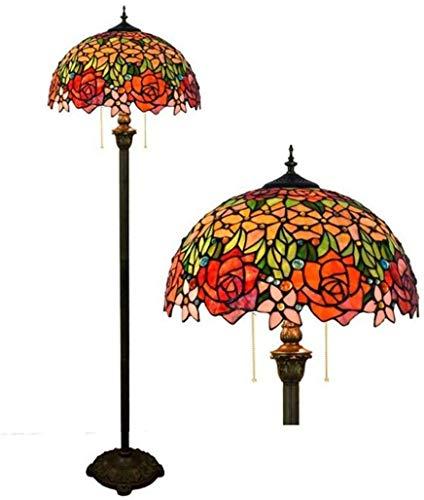 GANE Lámpara de pie, Luces de Rosas de vidrieras Vintage Europeas con Interruptor de Cremallera, iluminación Interior Moderna hogar, Sala de Estar, Dormitorio