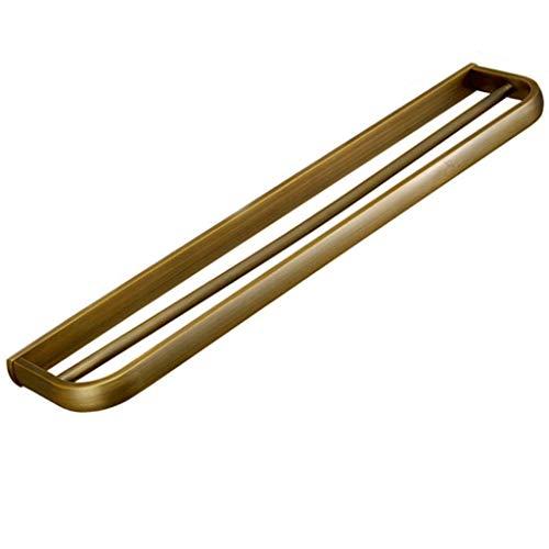 COOLSHOPY Northern Europe - Toallero doble barra gruesa para baño de cobre antiguo europeo de hardware colgante de baño estante de baño