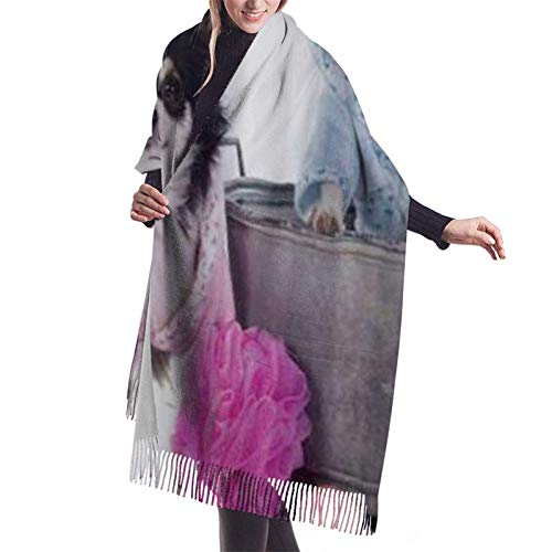 Jingliwang Schals Wickelschal Warm Women Blanket Scarf Chihuahuas Dressed Up And Ready For Bath Time Colorful Stylish Blanket Oversized Cozy Scarf Wrap Shawl