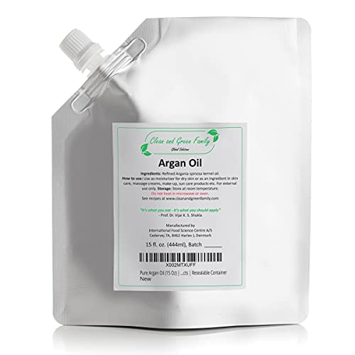 Refined Pure Argan Oil (15 Oz) | 100% Natural, Unscented | Base Oil for Handmade & Homemade Lotion with Argan, Argan Hair Growth Oil, Argan Face Oil, Argan Hair Oil | Carrier Oil | Resealable Pouch