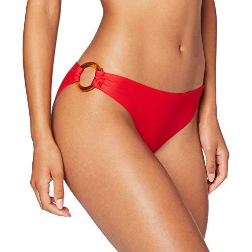 Women'secret, Parte Inferior del Bikini cadera con tejido con textura y maxi anillas estampadas laterales para Mujer, Rojo, M