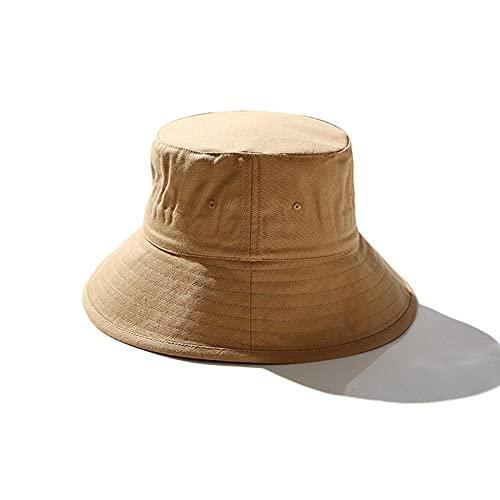 AOQW Fisherman's Hat Lady Small Head Fishing Hat Male Wide Brim Panama Hats Men Cotton Plus Size Bucket Hat-Camel_60-63Cm