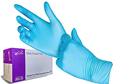 MEDIUM Nitrile Exam Gloves ( 1 Pack, 200 Count each) - Medical Grade, Powder Free, Latex Rubber Free, Disposable, Non Sterile, Food Safe, Textured Fingers, Blue Color, Convenient Dispenser