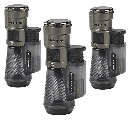 Vertigo by Lotus Cyclone Triple Torch Cigar Lighter Charcoal 3 Pack