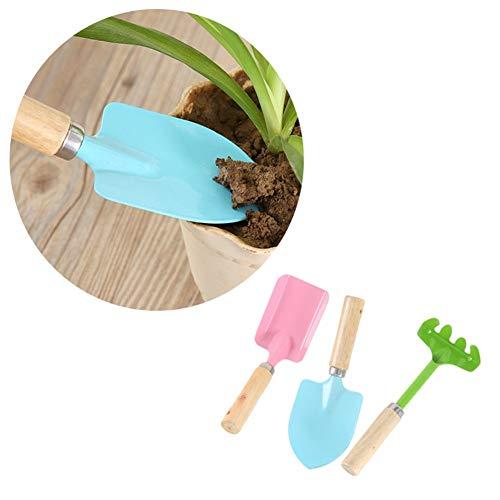 XIAO DIAO 3Pcs Gardening Tools Mini del Metallo cazzuola, Robusto Manico in Legno, Attrezzi di Sicurezza di Giardinaggio, cazzuola, rastrello, Pala