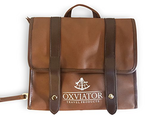 OXVIATOR Hanging Leather Toiletry Bag - Compact, Classic Vintage Style, High Capacity, Waterproof Organizer for Your Travels or the Home