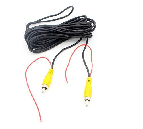 LoongGate Cable de video de la cámara de reserva del coche RCA - Cámara de aparcamiento con retrovisor reverso RCA AV Color Video Macho a macho Cable adaptador con cable de detección (6m / 20ft)