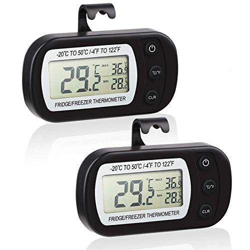 Makerfire Kühlschrank Thermometer mit Max/Min Funktion Digitale Wasserdichte Gefrierschrank Thermometer mit Haken Gut Lesbarem LCD-Anzeige-2Pack