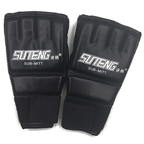 DJLHN1 Paar PU Leder Halbhandschuhe Fäustling MMA Muay Thai Training Stanzen Sparring Boxhandschuhe Golden/Weiß/Rot - Schwarz und Weiß