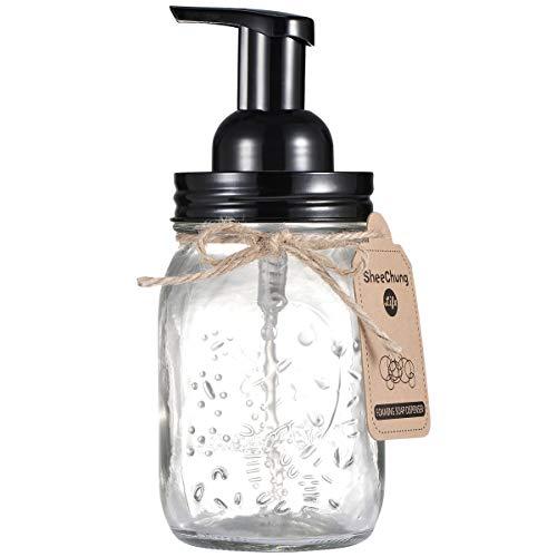 Mason Jar Foaming Soap Dispenser - Rustproof Stainless Steel Mason Jar Lid and Foaming Soap Pump,Best Hand Liquid Foam Soap Dispenser Glass for Bathroom Vanities or Kitchen Sink,Countertops - Black