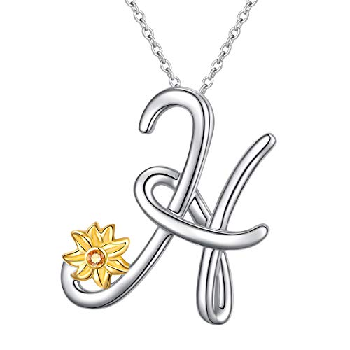 Sterling Silver Gold Tone Sunflower Initial 26 Letter Script Name Alphabet A to Z Necklace Personalized Pendant (H-Mini Sunflower)