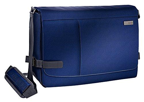 Leitz, Leichte Business Messenger-Tasche für 15.6 Zoll Laptop, Smart Traveller, Polyester/Metall/Leder, Complete, Titan Blau, 60190069