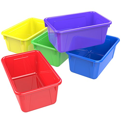 Storex 62414U05C Small Cubby Bin, Plastic Storage Container Fits Classroom Cubbies, Pack of 5, 12.2