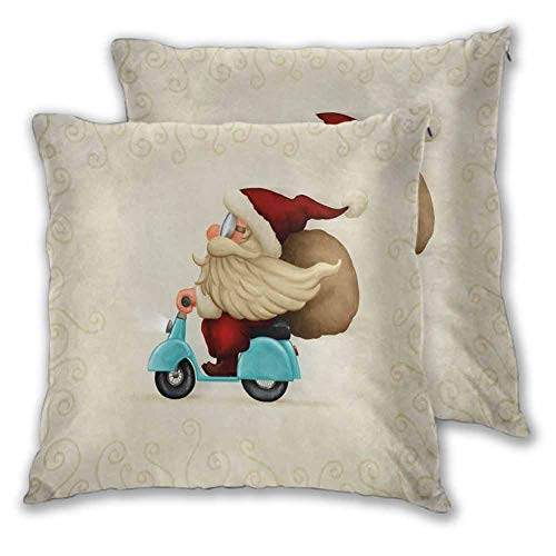 Xlcsomf Christmas Decorative pillowcase, 16 x 16 Inch Old Santa Claus Delivering Presents on His Motorcycle Swirled Lines Frame for Sofa Bedroom Car Christmas decoration Red Tan Light Blue Set of 2