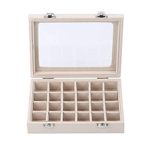 Greatangle-UK 24 Gürtel Ohrringe Ring Schmuck Aufbewahrungsbox Elegante stapelbare Schmuckablage Kofferhalter Organizer Aufbewahrungsvitrine mit Deckel
