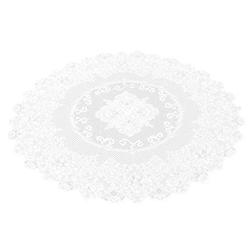Juvale 59-Inch Round Decorative Lace Tablecloth with Elegant Floral Patterns for Birthday Parties, Weddings, Dining Room Tables, White