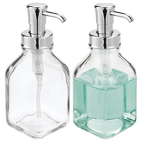 mDesign 2er-Set Seifenspender wiederbefüllbar – eckiger Pumpseifenspender aus Glas und Kunststoff – optimal für Küche oder als Badzubehör mit ca. 562 ml Füllmenge – durchsichtig/silberfarben