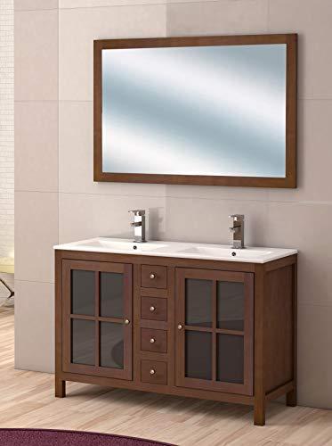 Juego de Mueble de Baño Modelo GRAZALEMA, Conjunto formado por Mueble de Baño Estilo Rústico Color Madera Nogal, Lavabo de Porcelana y Espejo a Juego. Espejo con marco. Ancho 120 cm