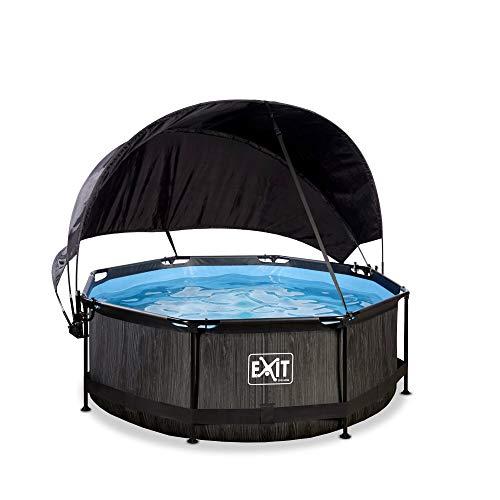 EXIT Black Wood Pool ø244x76cm mit Sonnensegel und Filterpumpe - schwarz