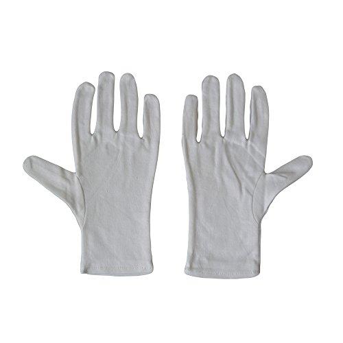 Kaavie - Uomini 100% morbidi guanti di cotone bianchi x 2 coppie di grandi dimensioni