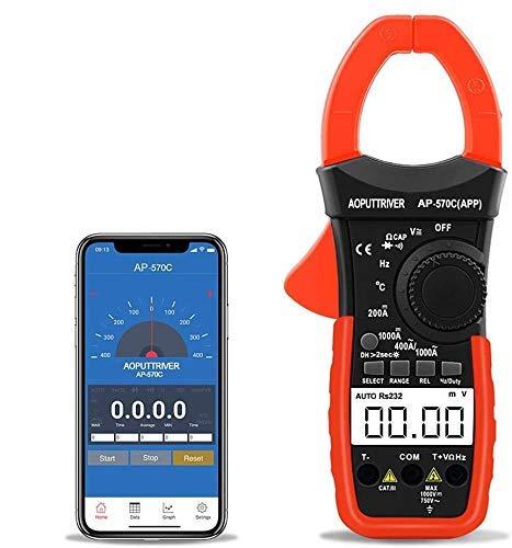 Digitale Pinza Amperometrica, AP-570C-APP Amperometrica Bluetooth Multimetro con Spegnimento Automatico per AC&DC Amperaggio Corrente Tensione Resistenza Temperatura con Continuità Retroilluminata