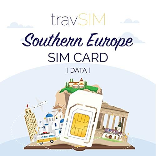 travSIM - Tarjeta SIM Prepaga del Sur Europea (SIM de Datos para...