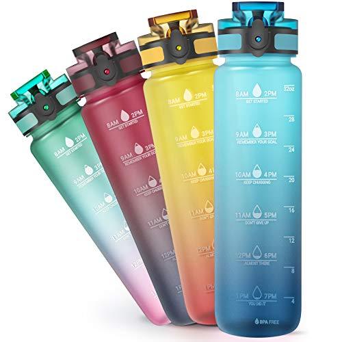Sahara Sailor Botella de Agua,1 Litro Deportiva Botella de Agua con Sello de Tiempo de Motivación Objetivo, Botella Agua Plástico Impermeable y Reutilizable,Sin BPA,para Niños, Escuela, Gimnasio