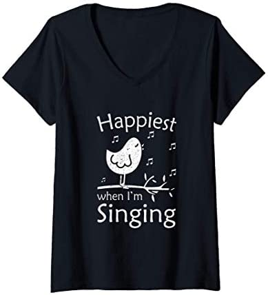 Womens Love To Sing Love Singing Happiest When I m Singing V Neck T Shirt product image