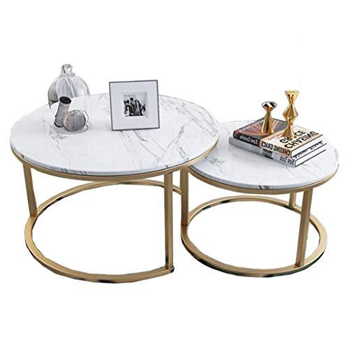 Muebles de decoración del hogar Conjunto Moderno de 2 mesas de café anidadas, Mesa de té de Ocio con sofá Lateral, Mesa de cóctel Redonda con patrón de mármol MDF y Marco de Acero - Dorado