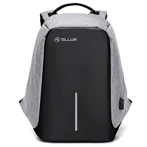 Tellur TLL611231 Notebook Rucksack, Diebstahlsicherung, USB-Anschluss, 43 x 30 x 11cm Grau