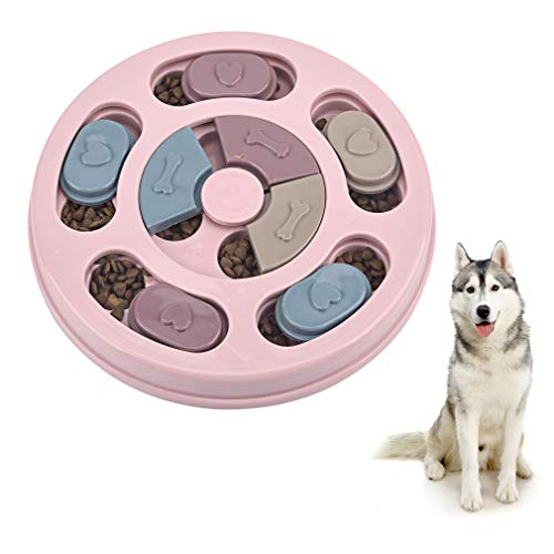 Interactive Dog Puzzle Feeder, Stimulating IQ Brain Games Puppy Toy for Boredom, Slow Feeding Dog Treat Dispenser, Non-Slip Pet Training Food Bowl Toys for Small, Medium, Large Dogs, Pink Round