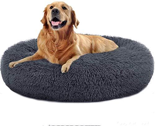 HAITAO Cama para perros, con forma de donut, sofá para perros, cama para gatos, funda extraíble y lavable a máquina, cama redonda suave para gatos y perros (50 cm, color gris oscuro)